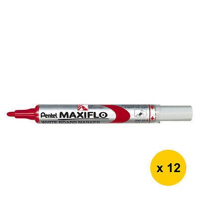 Pentel MAXIFLO - Pack de 12 marqueurs effaçables - pointe ogive - rouge