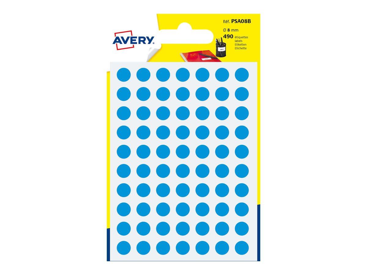 Avery - 490 Pastilles adhésives - bleu - diamètre 8 mm