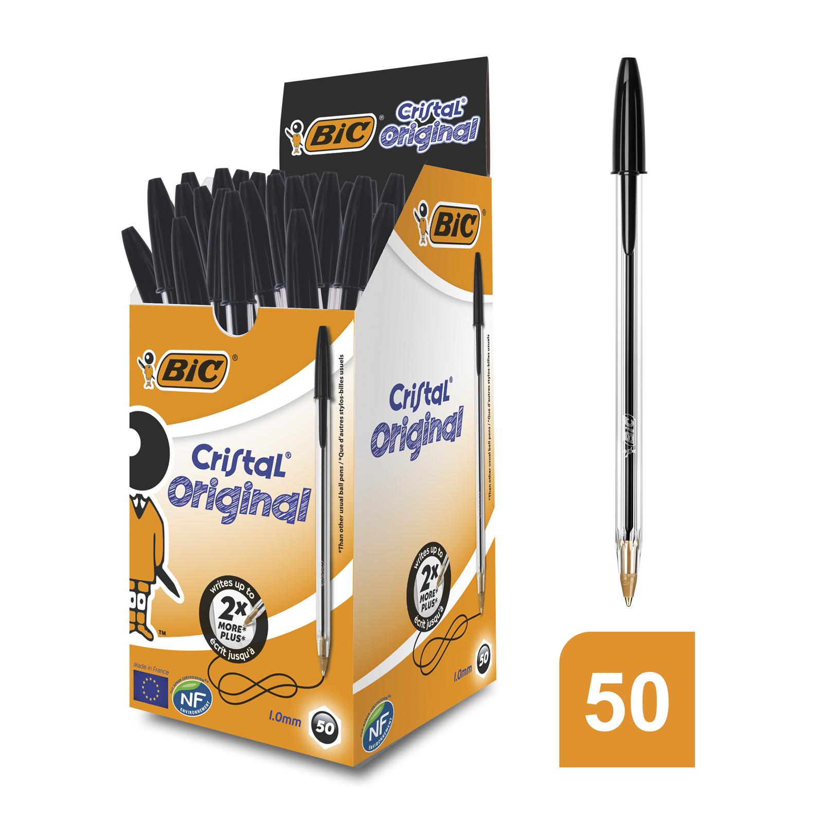BIC Cristal - 50 Stylos à bille - noir