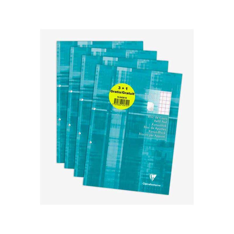 Clairefontaine - Blocs de cours 3+1 gratuit perforés 2 trous 200 pages A4- carreaux 10x10 avec marge