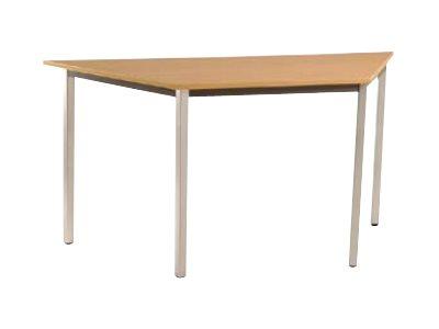 Table de réunion Trapèze - 140 x 70 cm - Pieds aluminium - imitation Erable