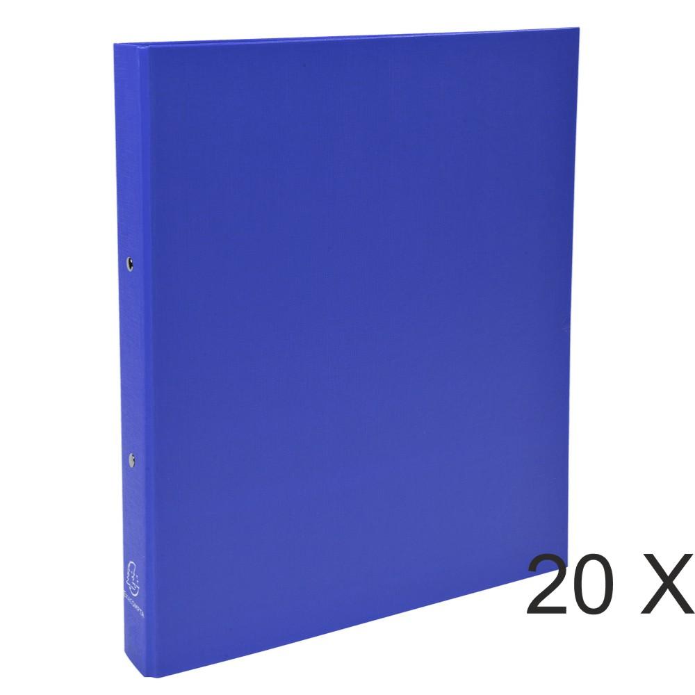 Exacompta - 20 Classeurs polypro 2 anneaux - Dos 40 mm - A4 - bleu