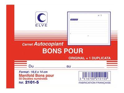 ELVE - Manifold Carnet de Bons pour - 50 dupli - 10,5 x 14 cm