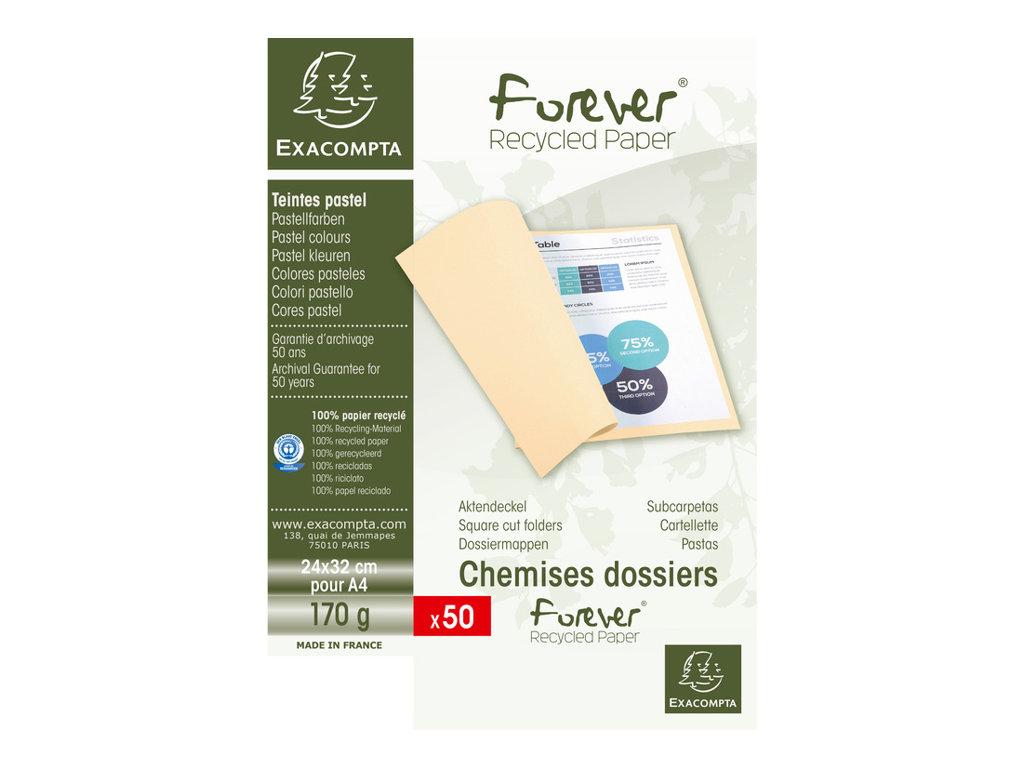 Exacompta Forever 180 - 50 Chemises - 170 gr - pour 200 feuilles - bleu clair