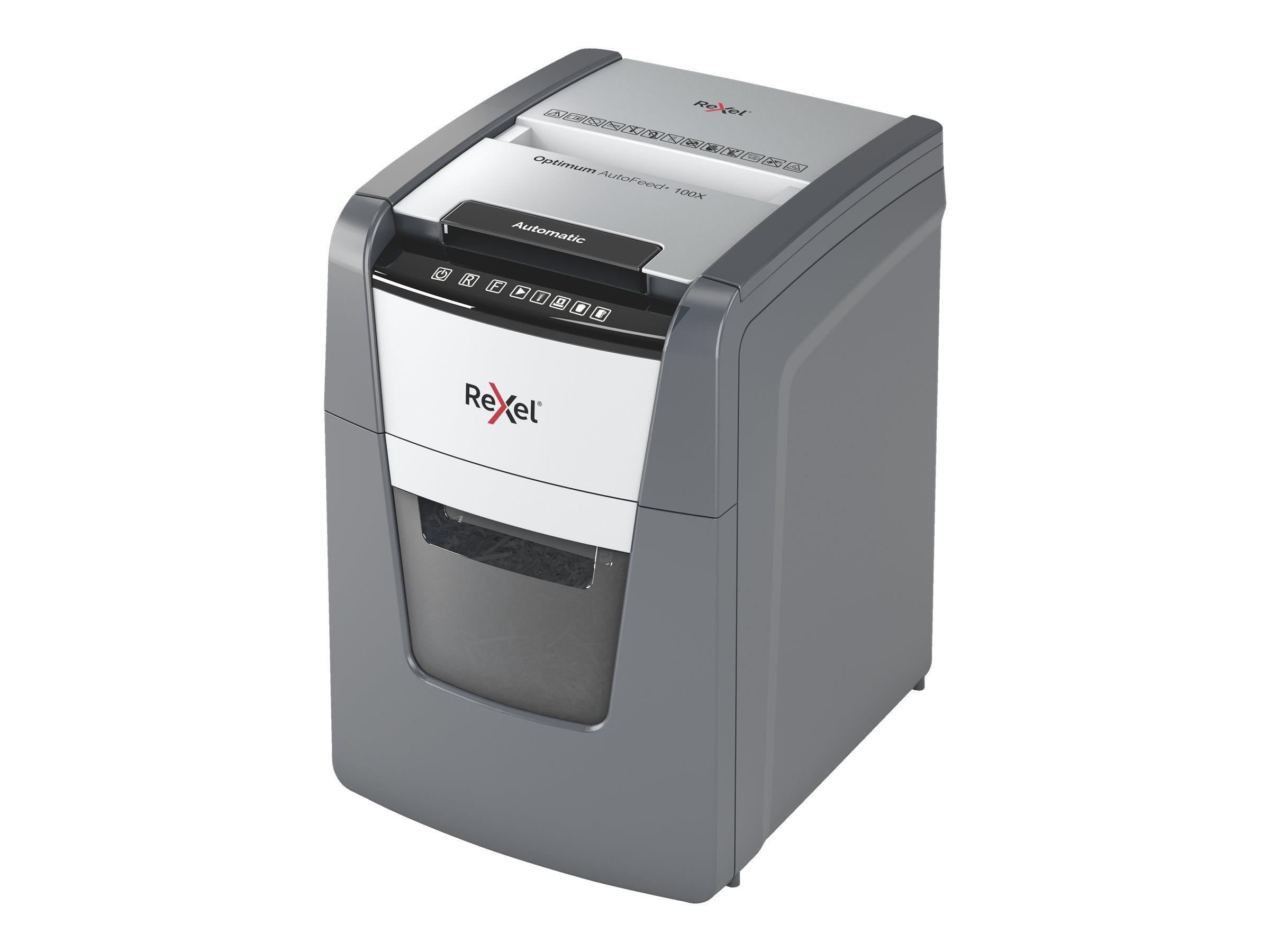 Rexel AutoFeed+ 100X - destructeur de documents coupe croisée - 100 feuilles - Corbeille 34 litres