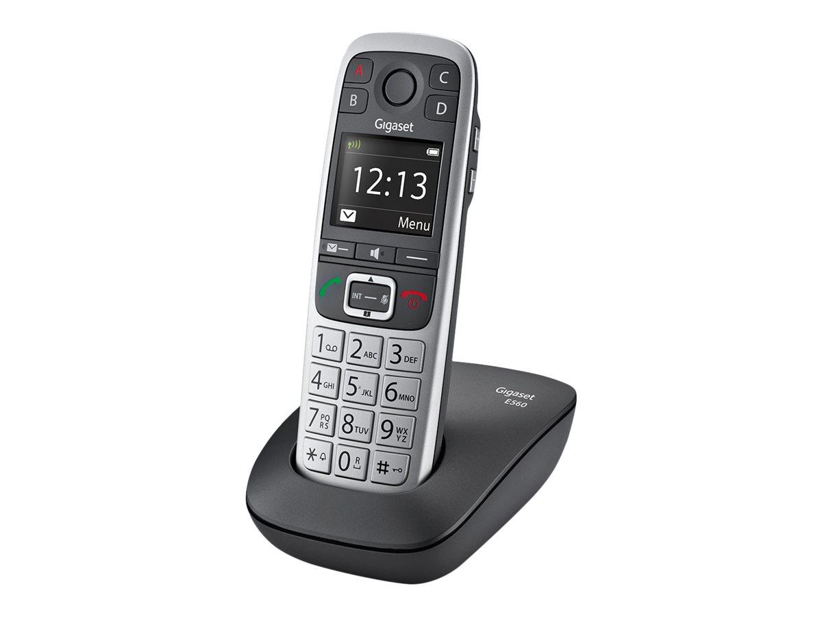 Gigaset E560 - téléphone sans fil - argent
