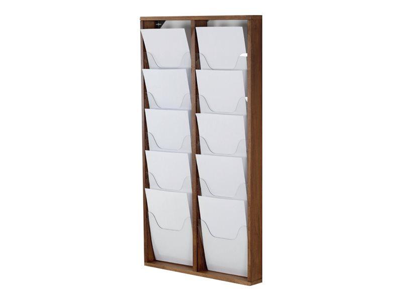 Promocome - Présentoir de journaux mural - 2 x 5 compartiments A4 - bois foncé