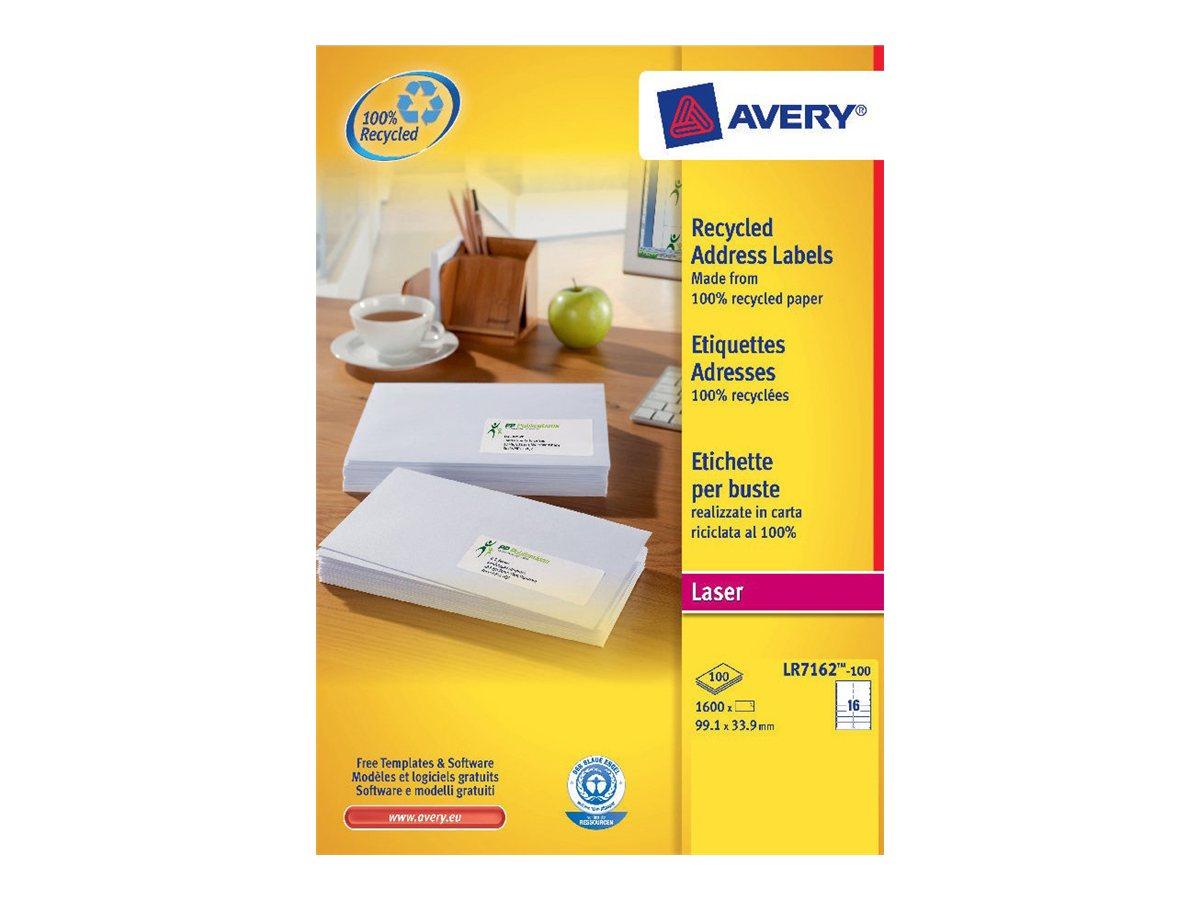 Avery - 1600 Étiquettes adresse recyclées blanches - 33,9 x 99,1 mm - Impression laser - réf LR7162-100