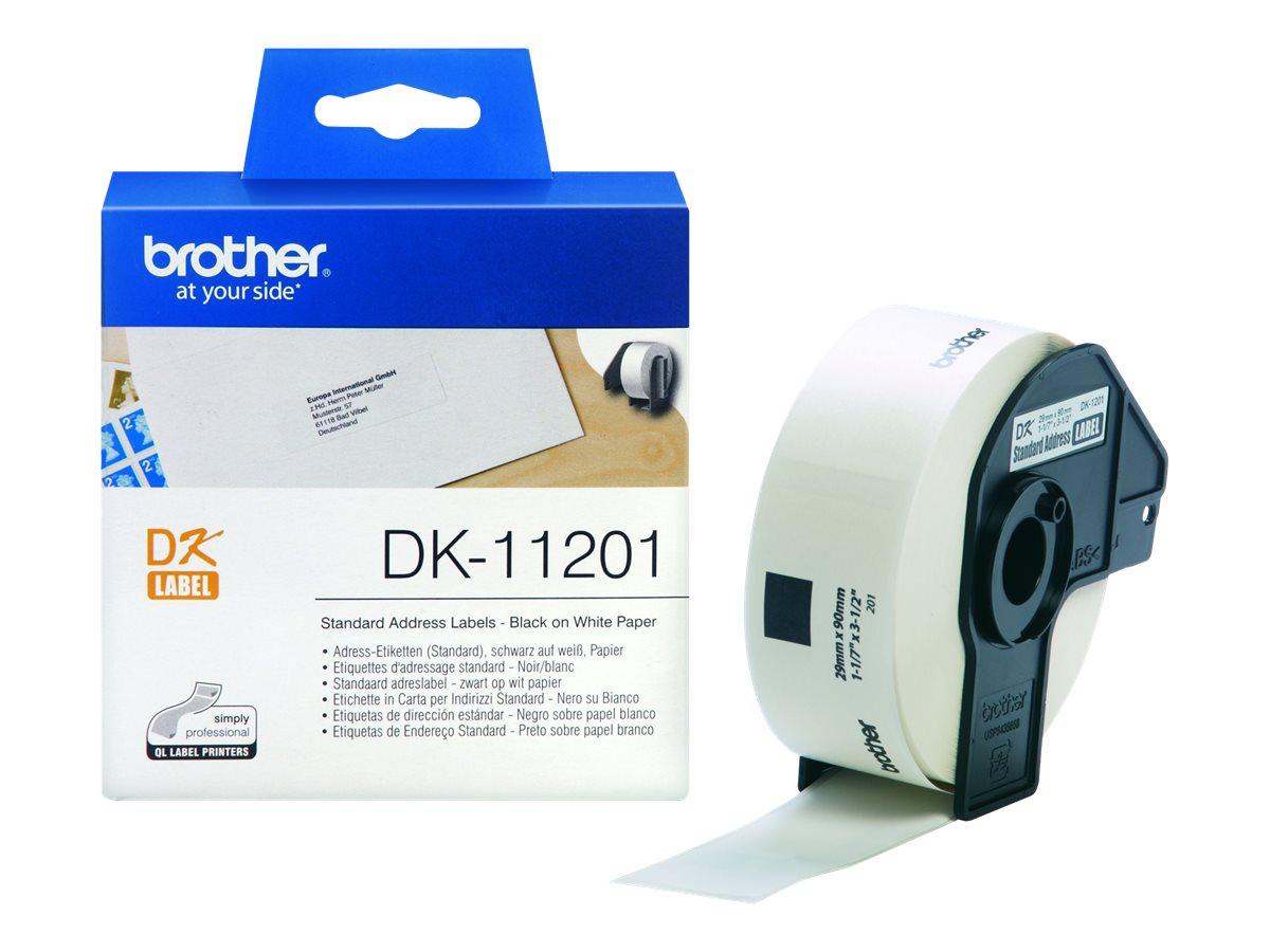 Brother DK-11201 - Ruban d'étiquettes auto-adhésives - 1 rouleau de 400 étiquettes (29 x 90 mm) - fond blanc écriture noire