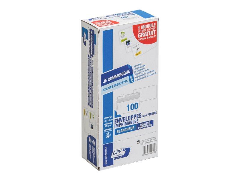 GPV - 100 Enveloppes DL 110 x 220 mm - 80 gr - blanc - sans fenêtre - bande adhésive