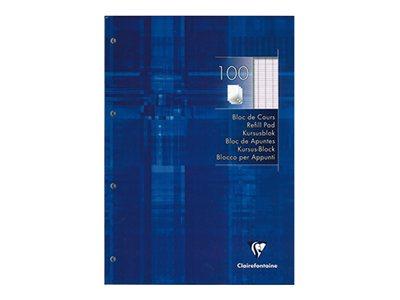 Clairefontaine - Bloc de cours - A4 - 200 pages (100 feuilles) - grands carreaux (Seyes) - perforées