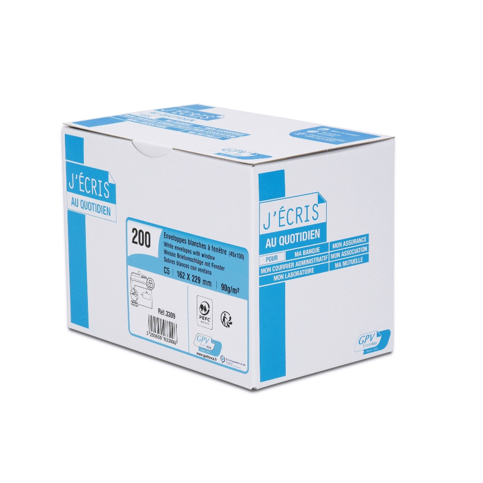 GPV - 200 Enveloppes C5 162 x 229 mm - 90 gr - fenêtre 45x100 mm - blanc - bande adhésive ouverture rapide