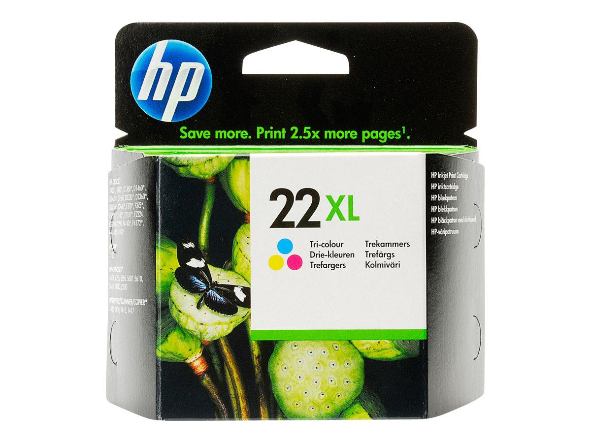 HP 22XL - cyan, magenta, jaune - cartouche d'encre originale