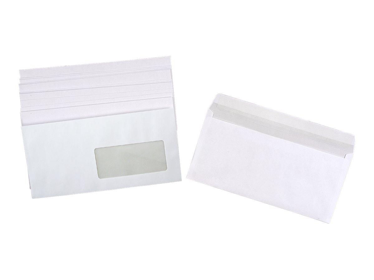 La Couronne - 500 Enveloppes DL 110 x 220 mm - 80 gr - fenêtre 45x100 mm - blanc - bande auto-adhésive
