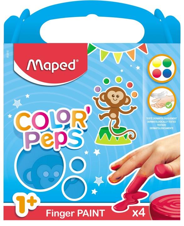 Maped Color'Peps - 4 pots peinture - au doigt - 80gr