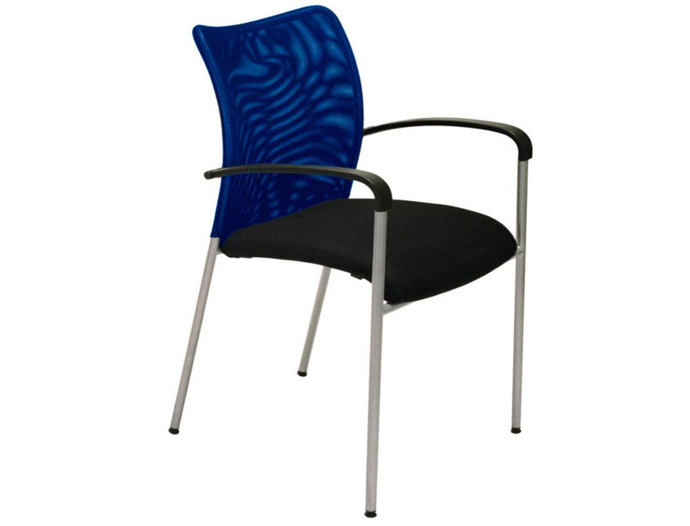 Chaise JULIA - avec accoudoirs - assise noire et dossier bleu