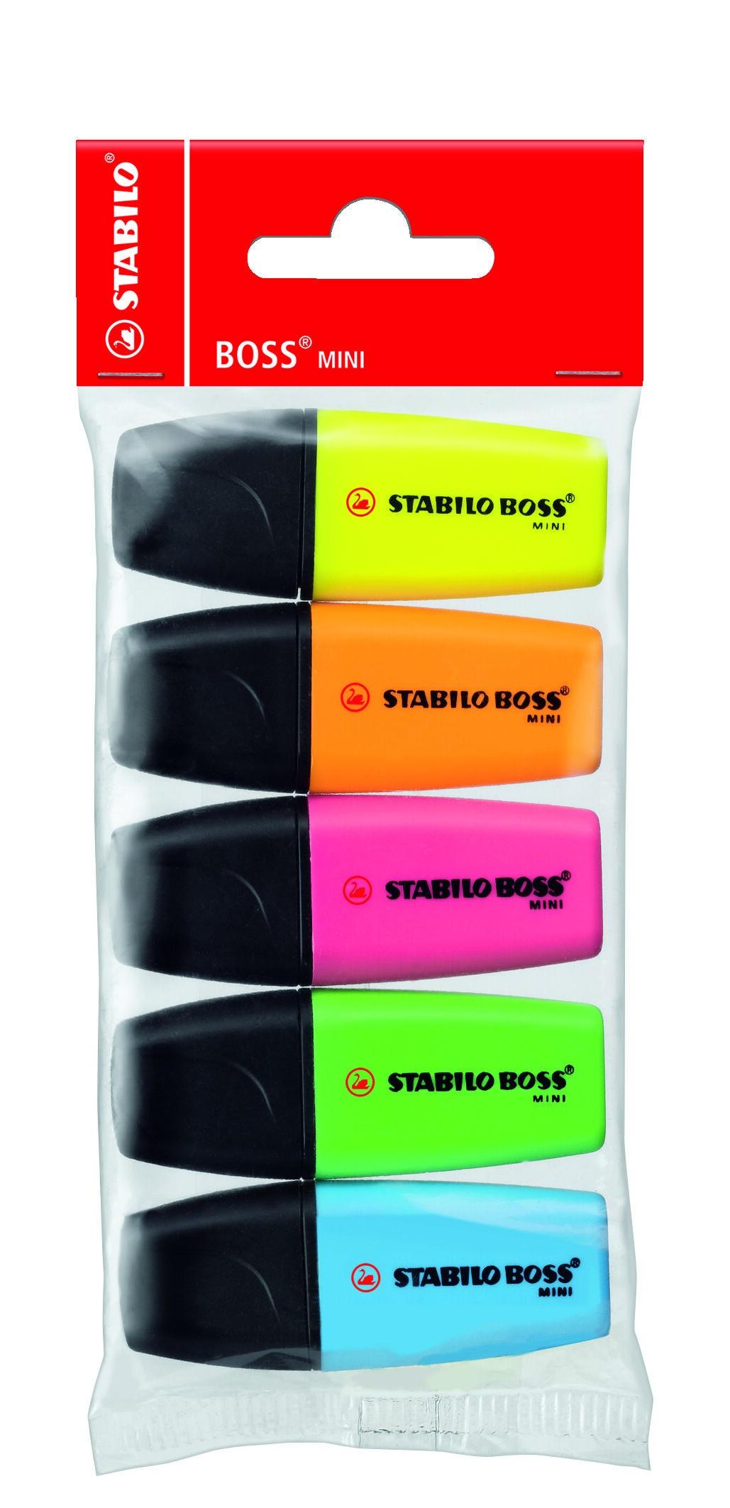 STABILO BOSS MINI - Pack de 5 surligneurs - couleurs assorties
