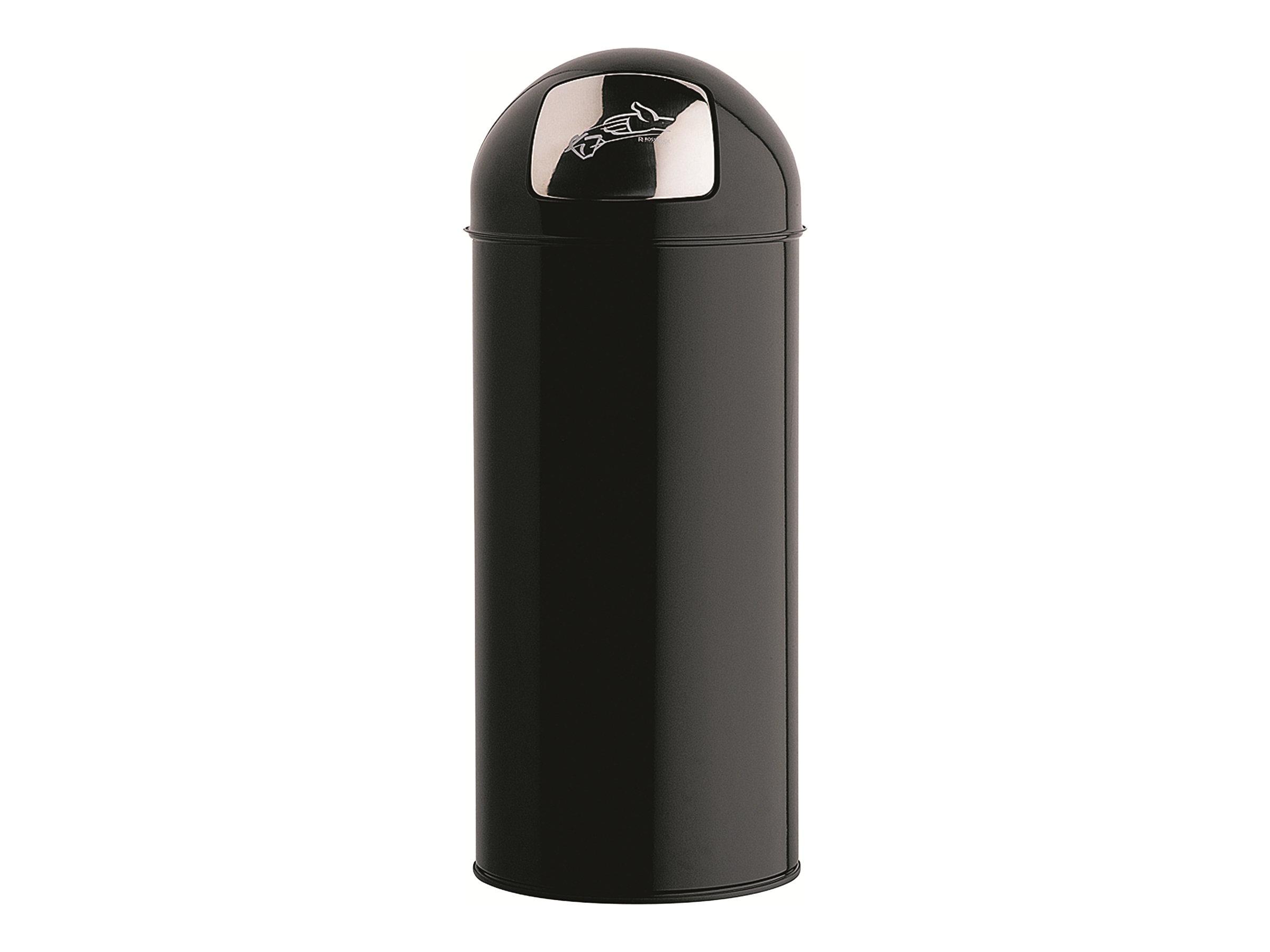 ROSSIGNOL - Poubelle avec couvercle à trappe en métal 45 Litres Push - Diamètre 31, hauteur 77,5 cm noir