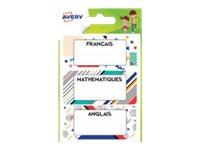 Avery - 15 Étiquettes scolaires matières scolaires graphiques