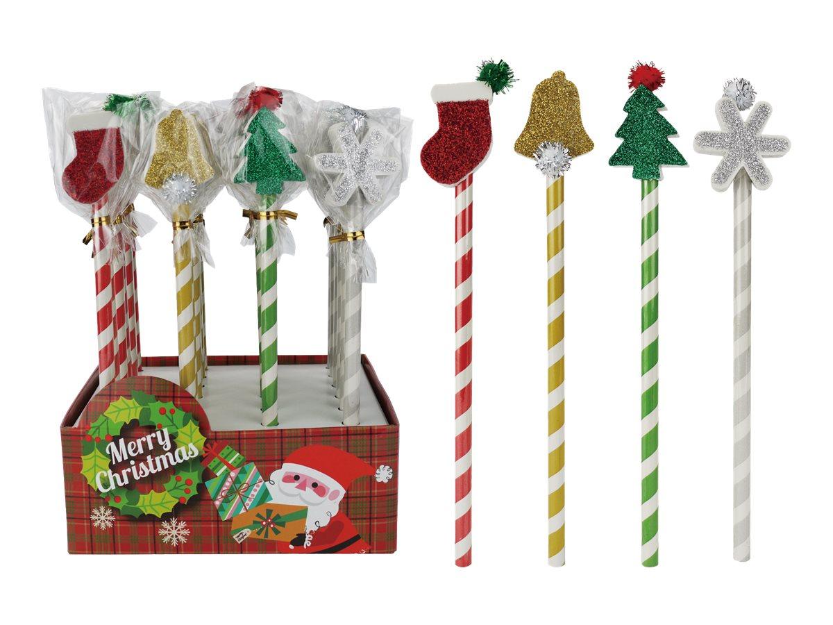 Oberthur Noël - Crayon embout gomme avec paillettes