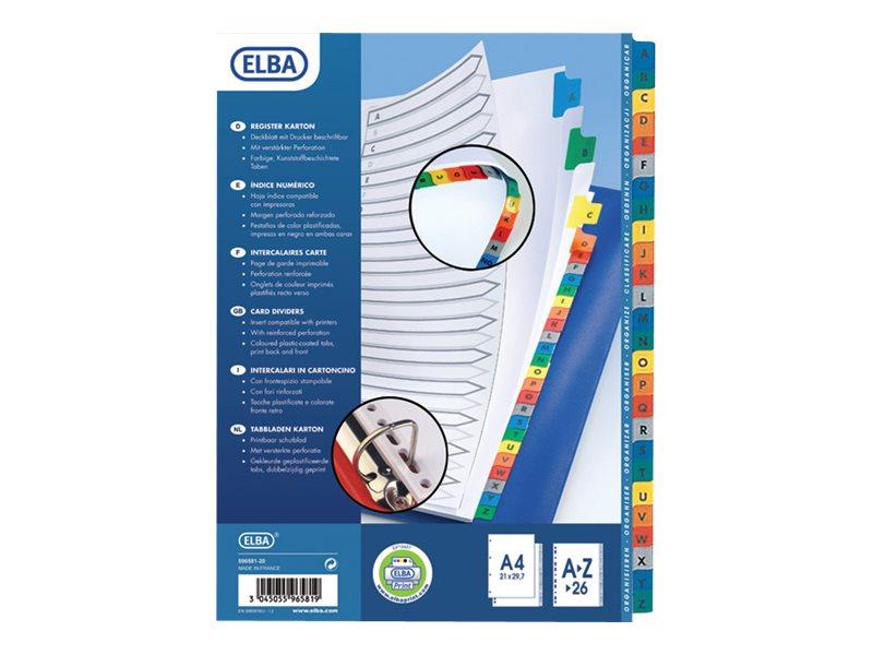 ELBA StrongLine - Intercalaire 26 positions A à Z - A4 - carte blanche