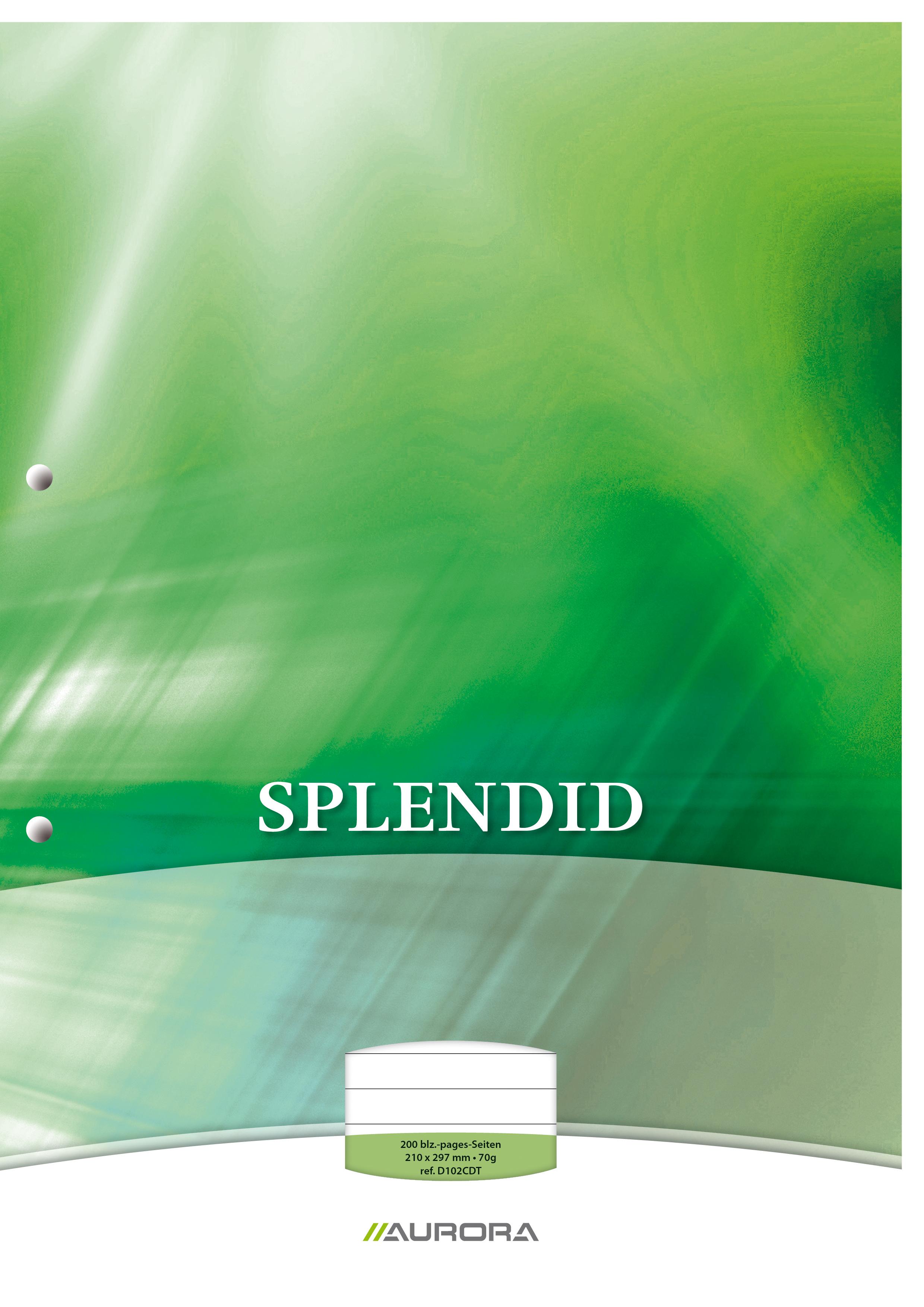 Splendid - Bloc de cours A4 - ligné + marge - 200 pages - perforation 2 trous - 70g