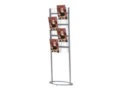 Promocome - Porte-brochures de sol 4 niveaux de présentation - 8 bacs A4 - base ovale