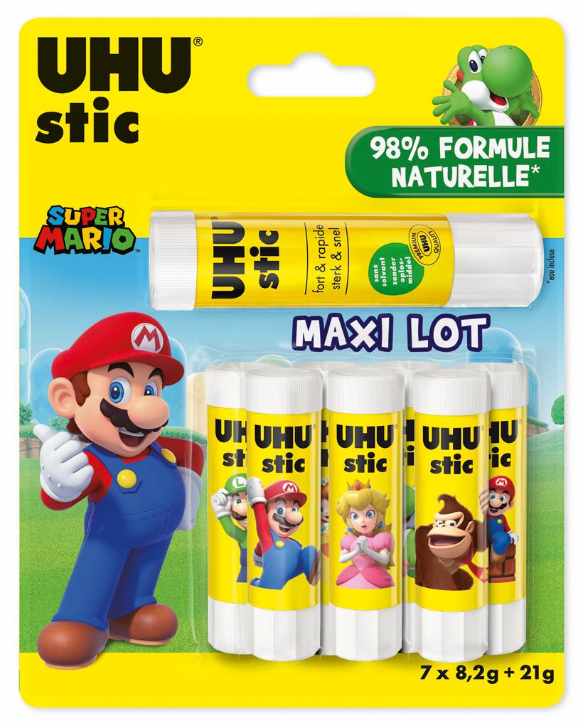 UHU - 7 Bâtons de colle - 8.2 g  + 1 bâton 21 g- Licence Mario