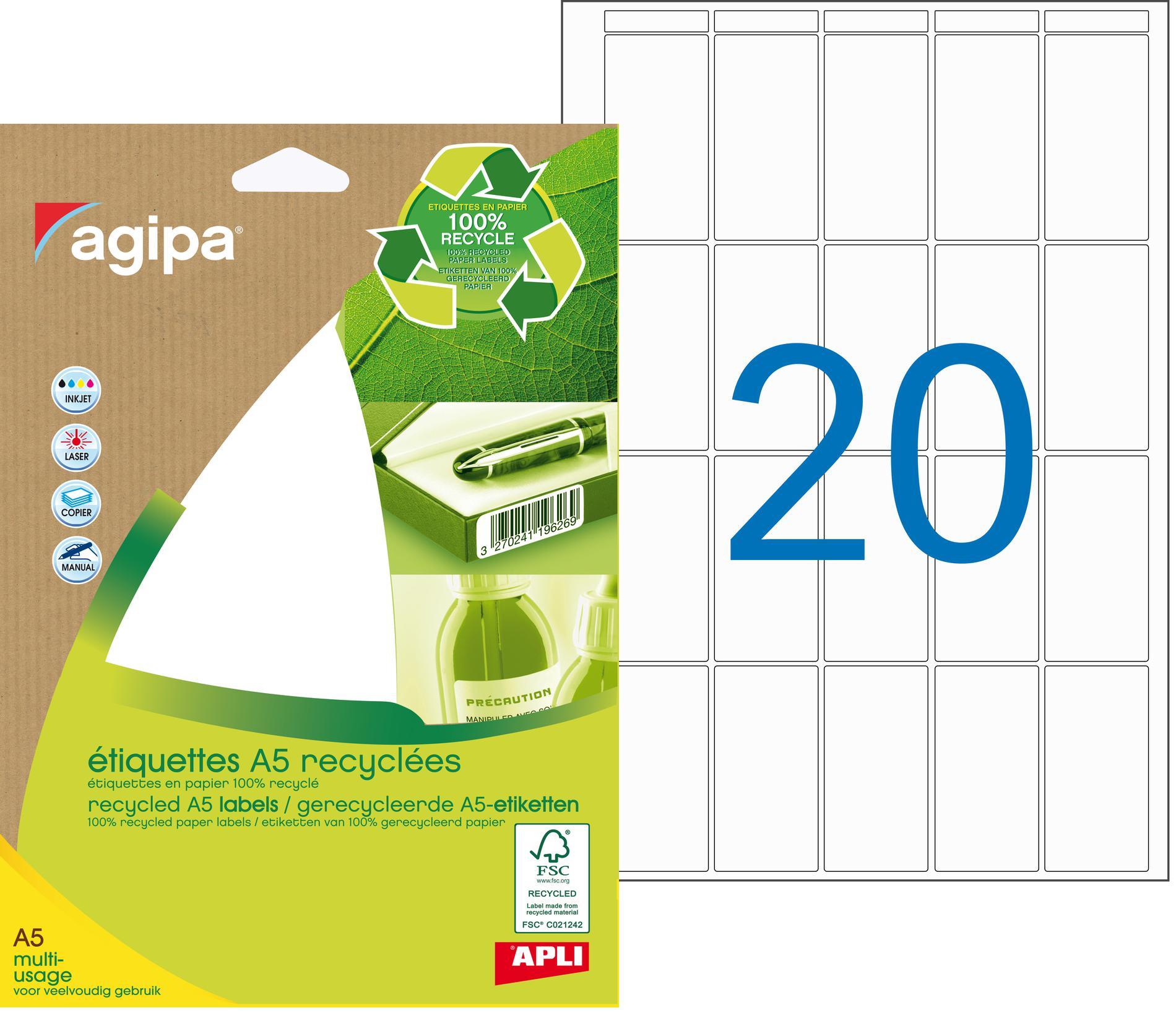 Apli Agipa - Etui A5 - 280 Étiquettes 100% recyclées blanches multi-usages - 48,5 x 25 mm - Coins arrondis - réf 101247
