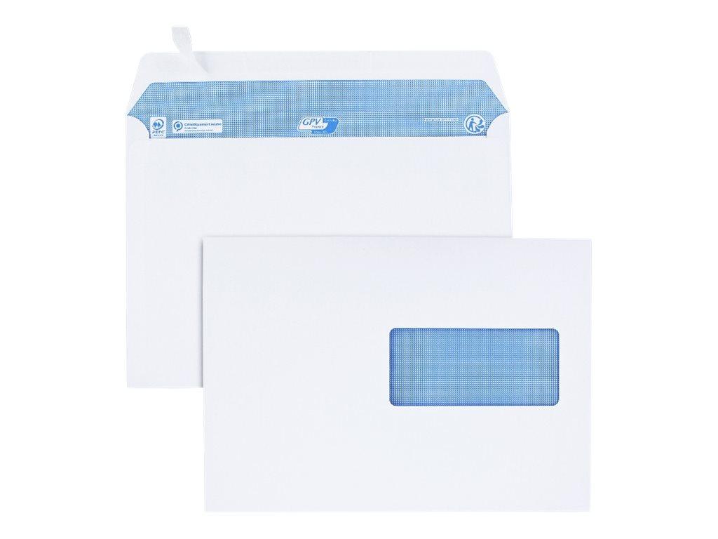 GPV - 200 Enveloppes C5 162 x 229 mm - 100 gr - fenêtre 45x100 mm - blanc - bande adhésive