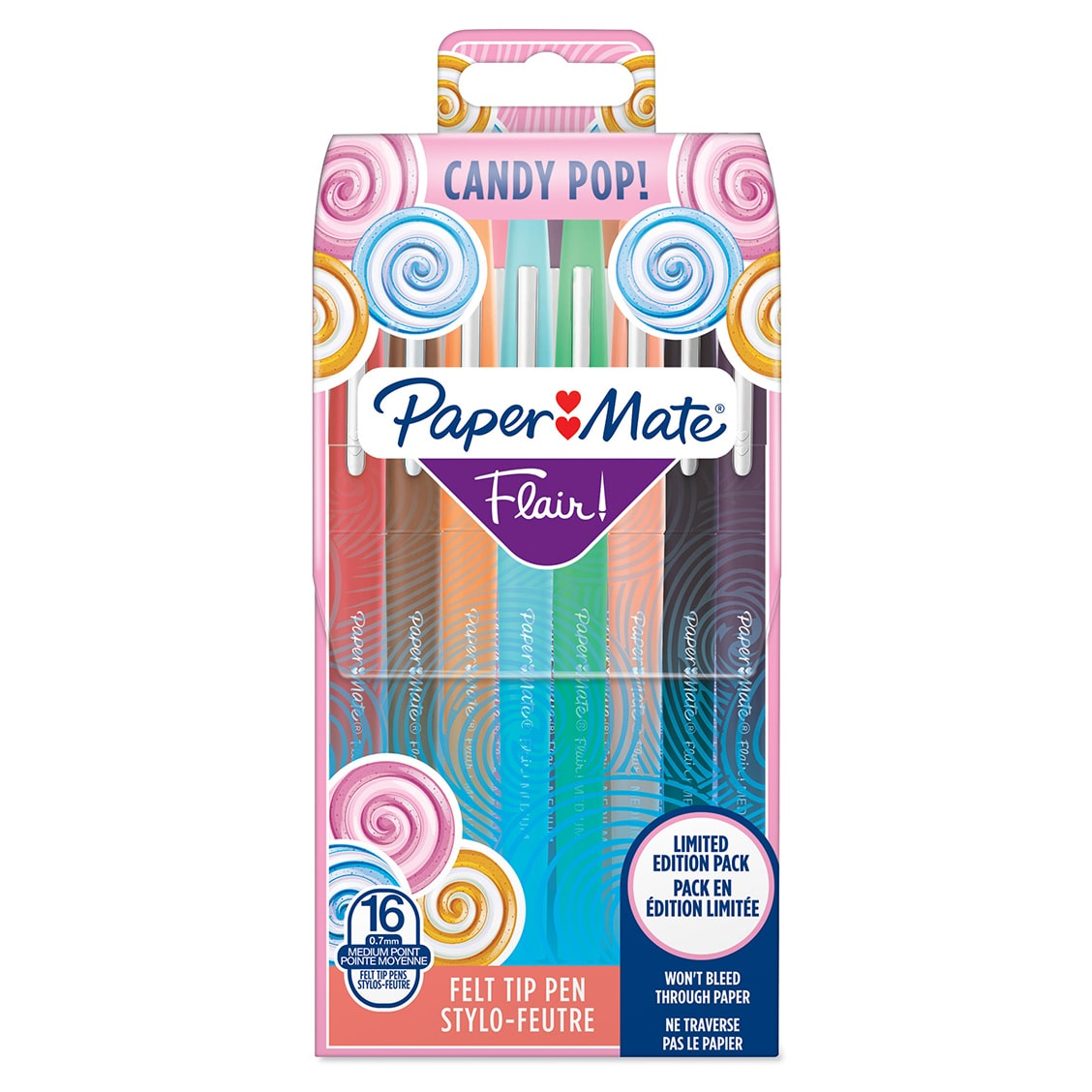 Paper Mate Flair Candy Pop - Pack de 16 - Feutres pointe moyenne - couleurs assorties