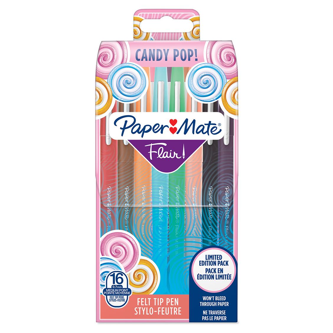 Paper Mate Flair Candy Pop - Pack de 16 feutres pointe moyenne - couleurs assorties