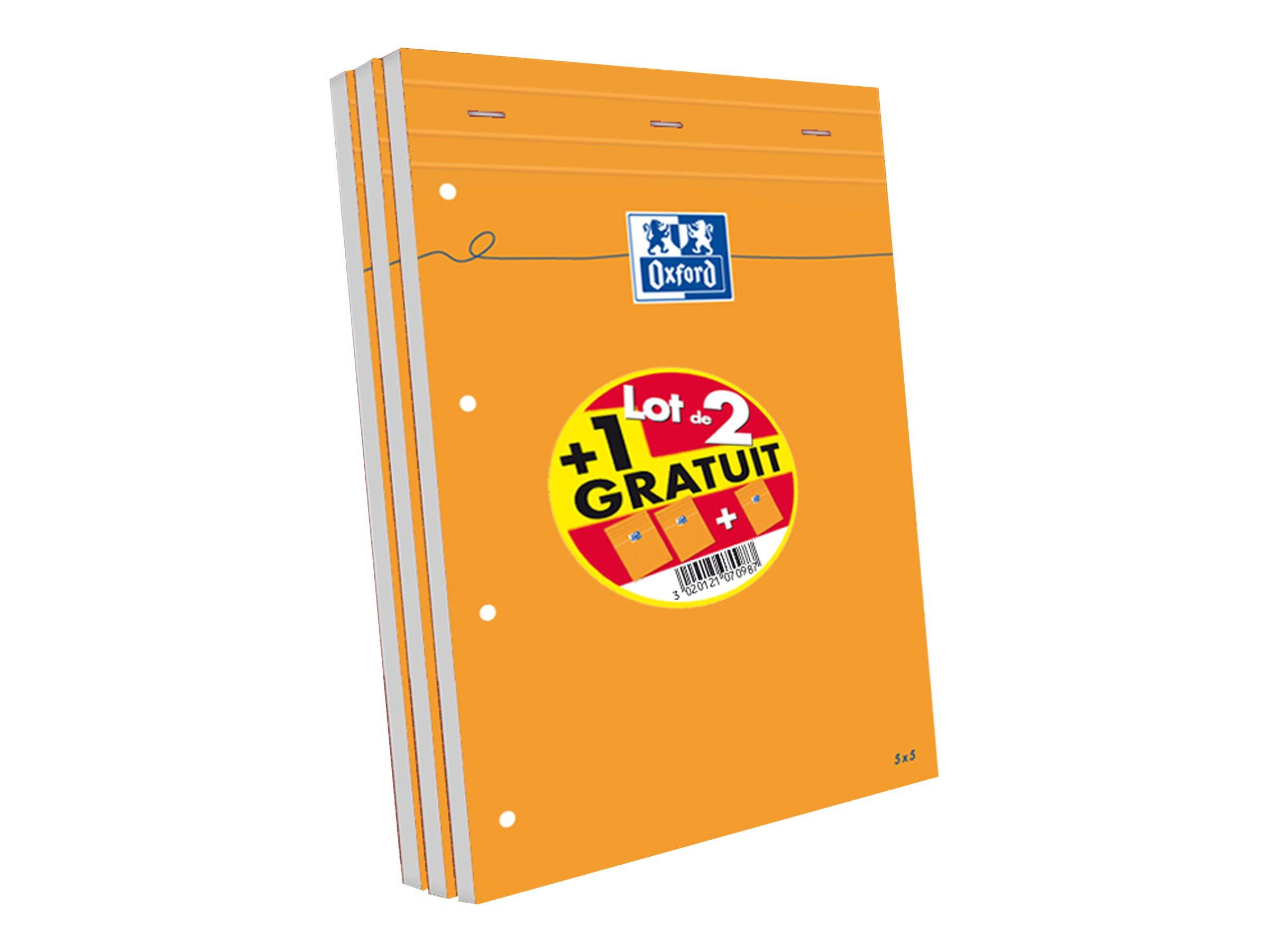 Oxford - Pack de 3 Blocs notes - A4 + - 160 pages - petits carreaux - perforés