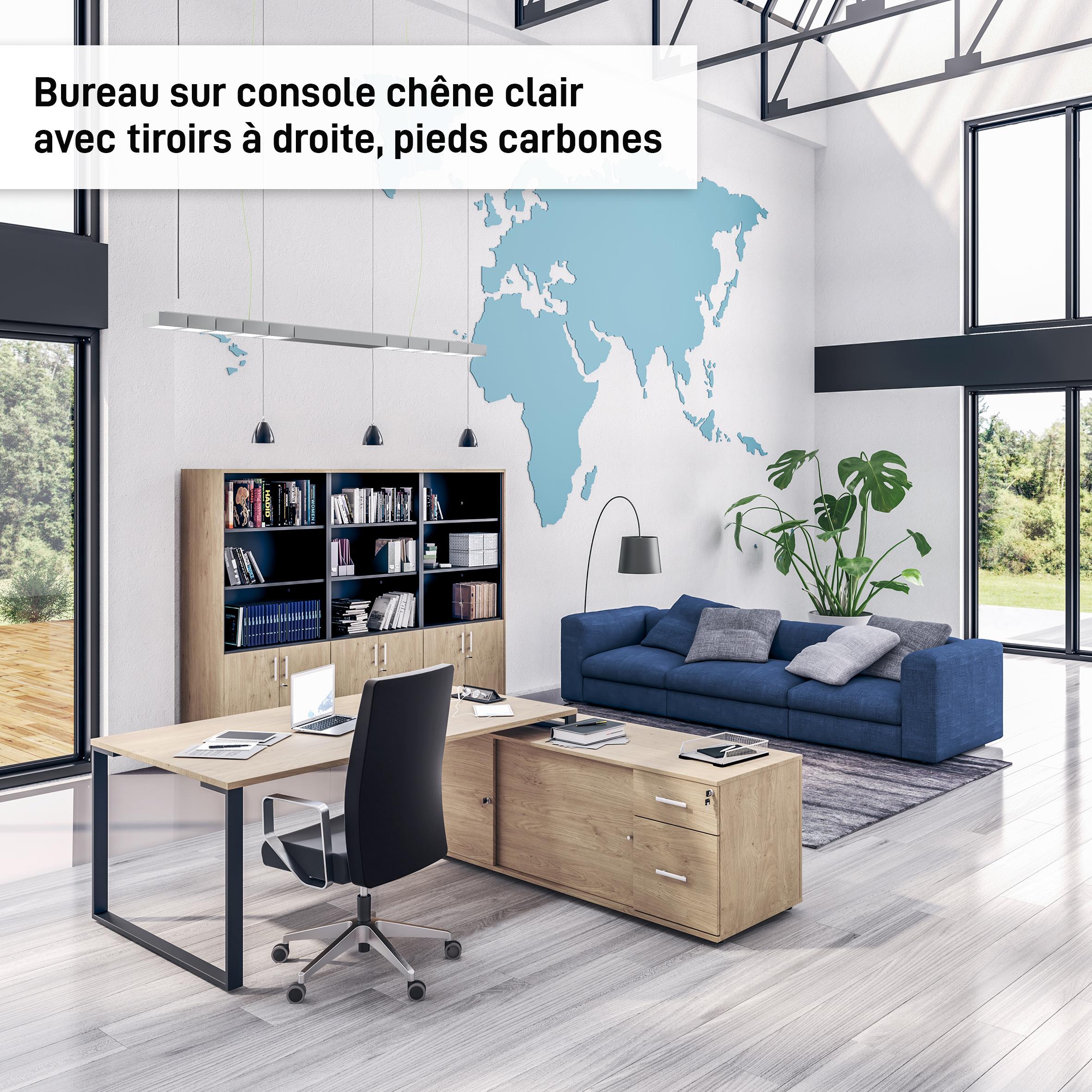 Bureau URBAN Manager - L180 x P100 x H72,5 cm - console retour à droite (tiroirs) L200 x P60 x H72,5 cm - pieds carbone - plateau imitation chêne clair