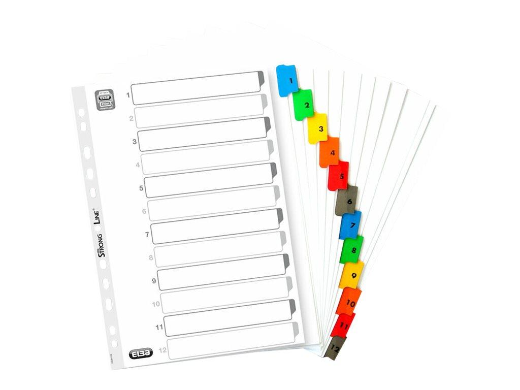 ELBA StrongLine - Intercalaire 12 positions numériques 1 à 12 - A4 Maxi - carte blanche