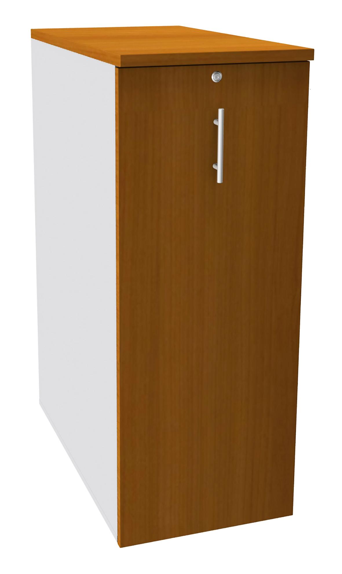 Caisson TOWER - L44 x H114 x P80 cm - 3 tablettes + 1 support DS réglable - structure blanc perle - dessus et façade imitation merisier