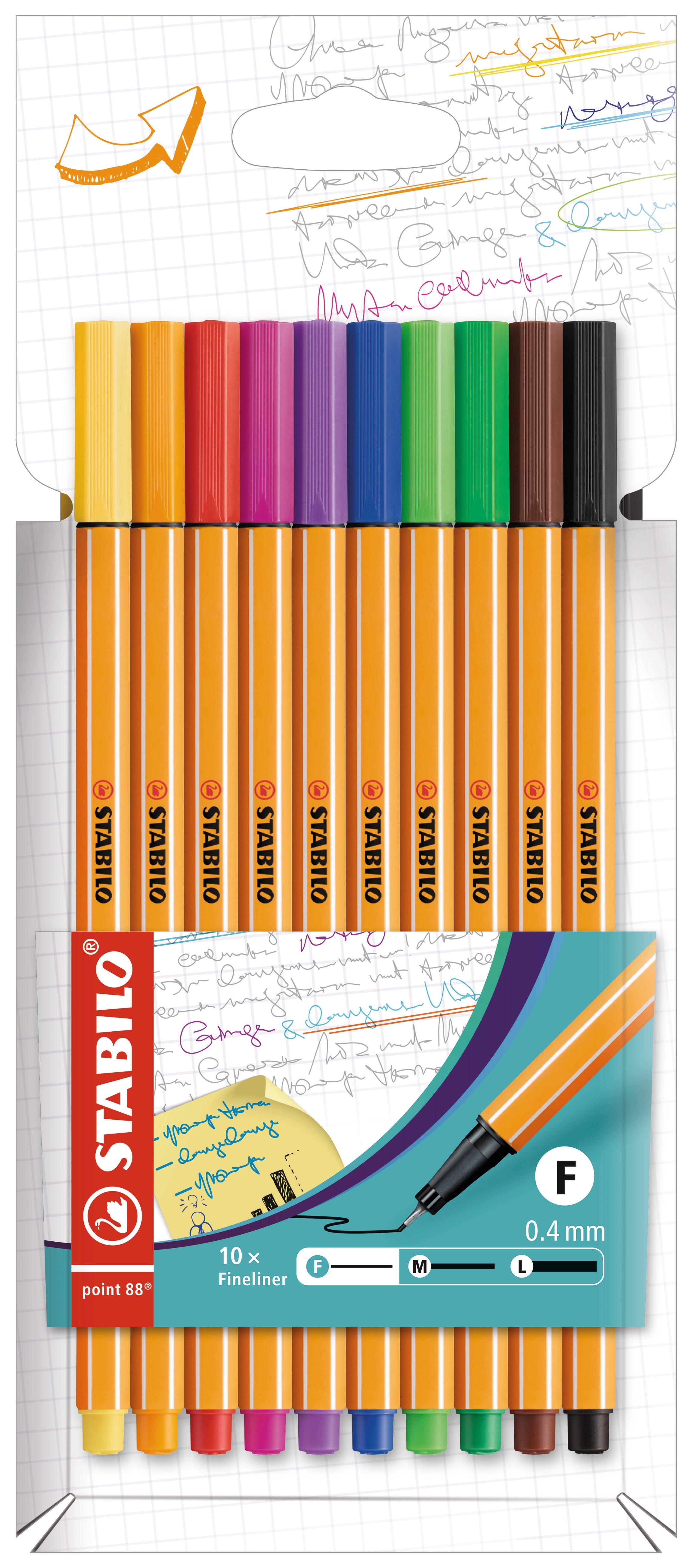 STABILO point 88 - Pack de 10 feutres fins - 0,4 mm - couleurs assorties