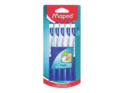 Maped Marker'Peps - Pack de 5 marqueurs effaçables avec chiffonette - pointe fine - bleu