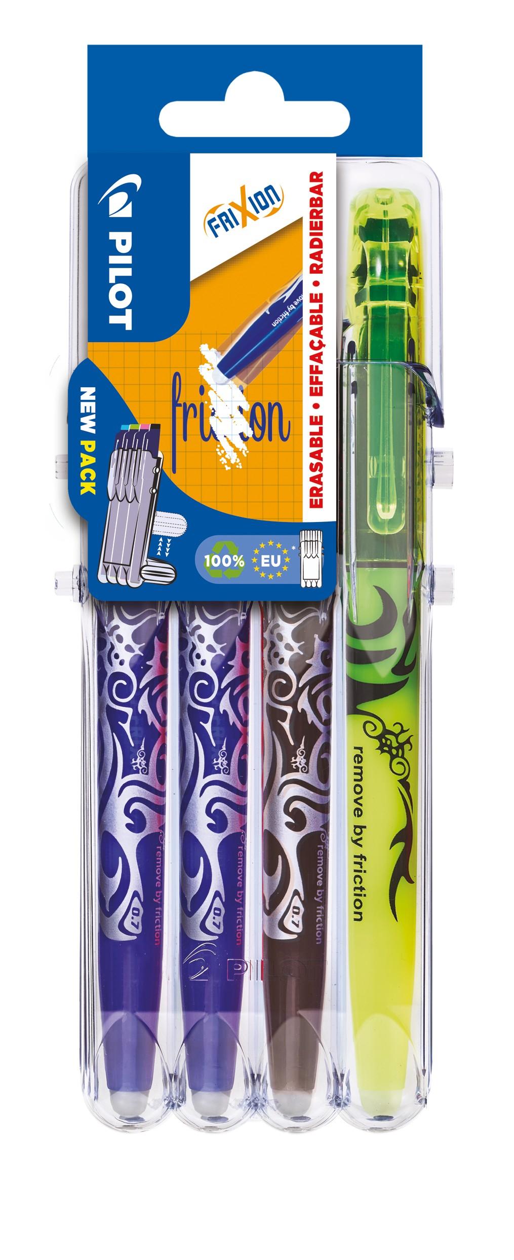Pilot Frixion - Pack de 2 rollers effaçables bleu + 1 noir + 1 surligneur effaçable jaune