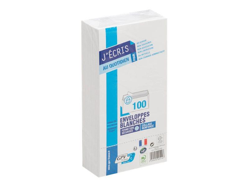 GPV - 100 Enveloppes DL 110 x 220 mm - 75 gr - sans fenêtre - blanc - bande adhésive