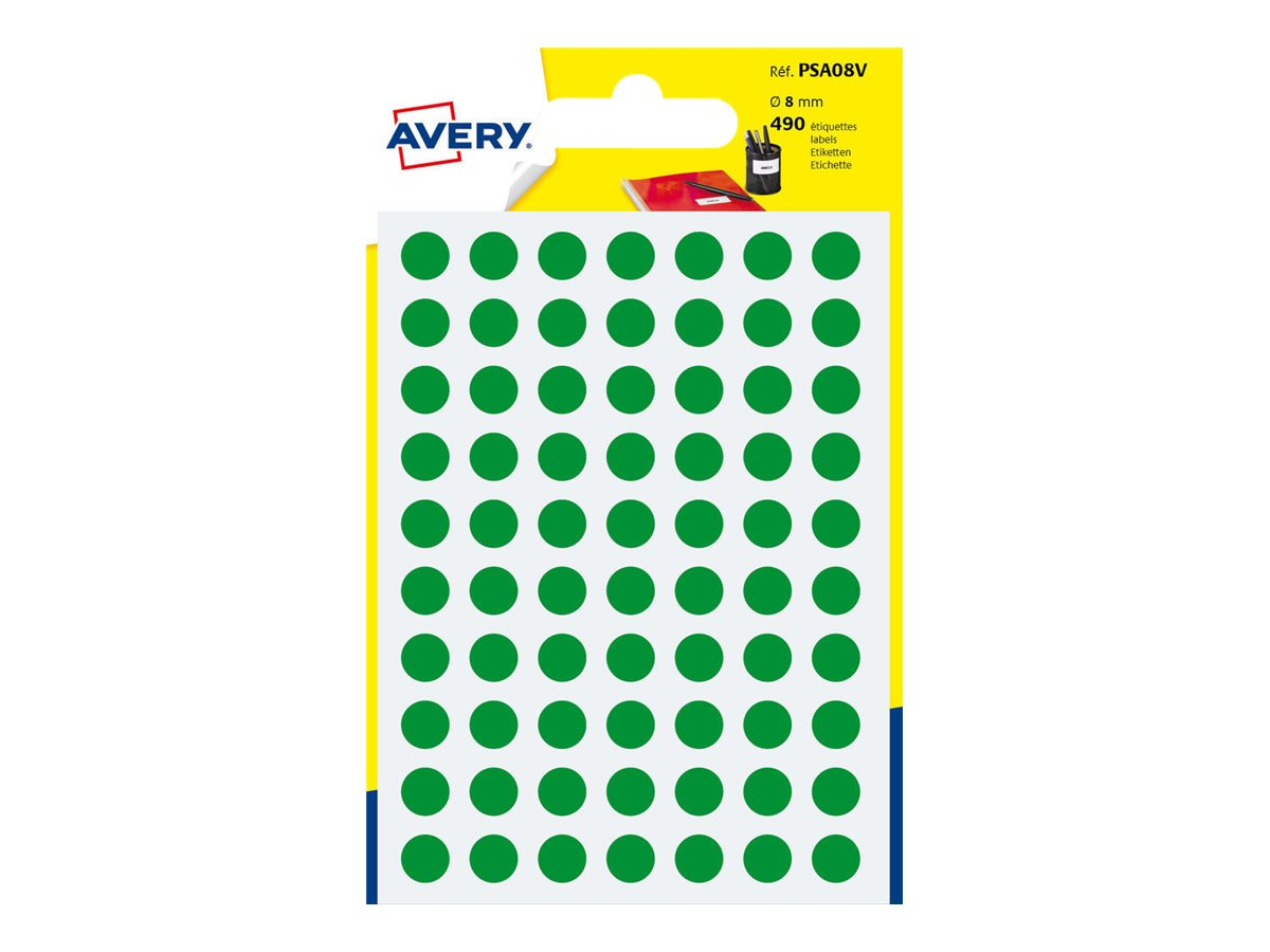 Avery - 490 Pastilles adhésives - vert - diamètre 8 mm