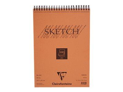 Clairefontaine Fine Arts - Bloc dessin croquis - 100 feuilles - A3 - 90 gr - blanc