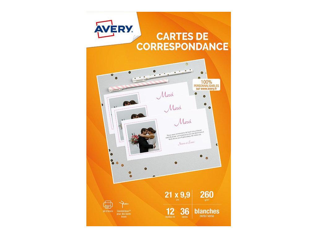 Avery - 36 Cartes de correspondance à bords lisses - 210 x 99 mm - impression jet d'encre