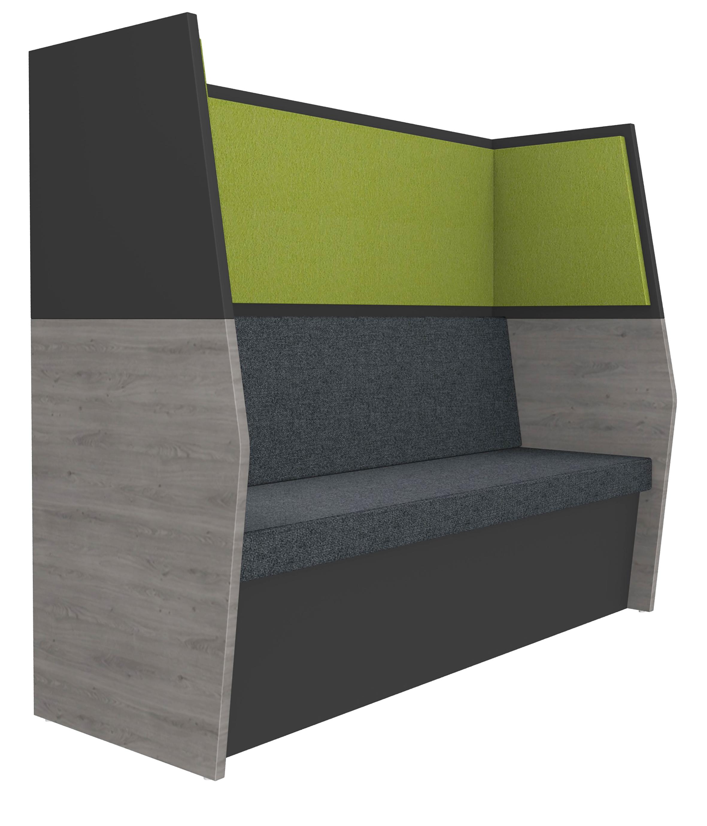 Banquette acoustique IN'TEAM - L170 x H 150 x P170 cm - 3 places - structure chêne gris et carbone - panneaux vert chartreux