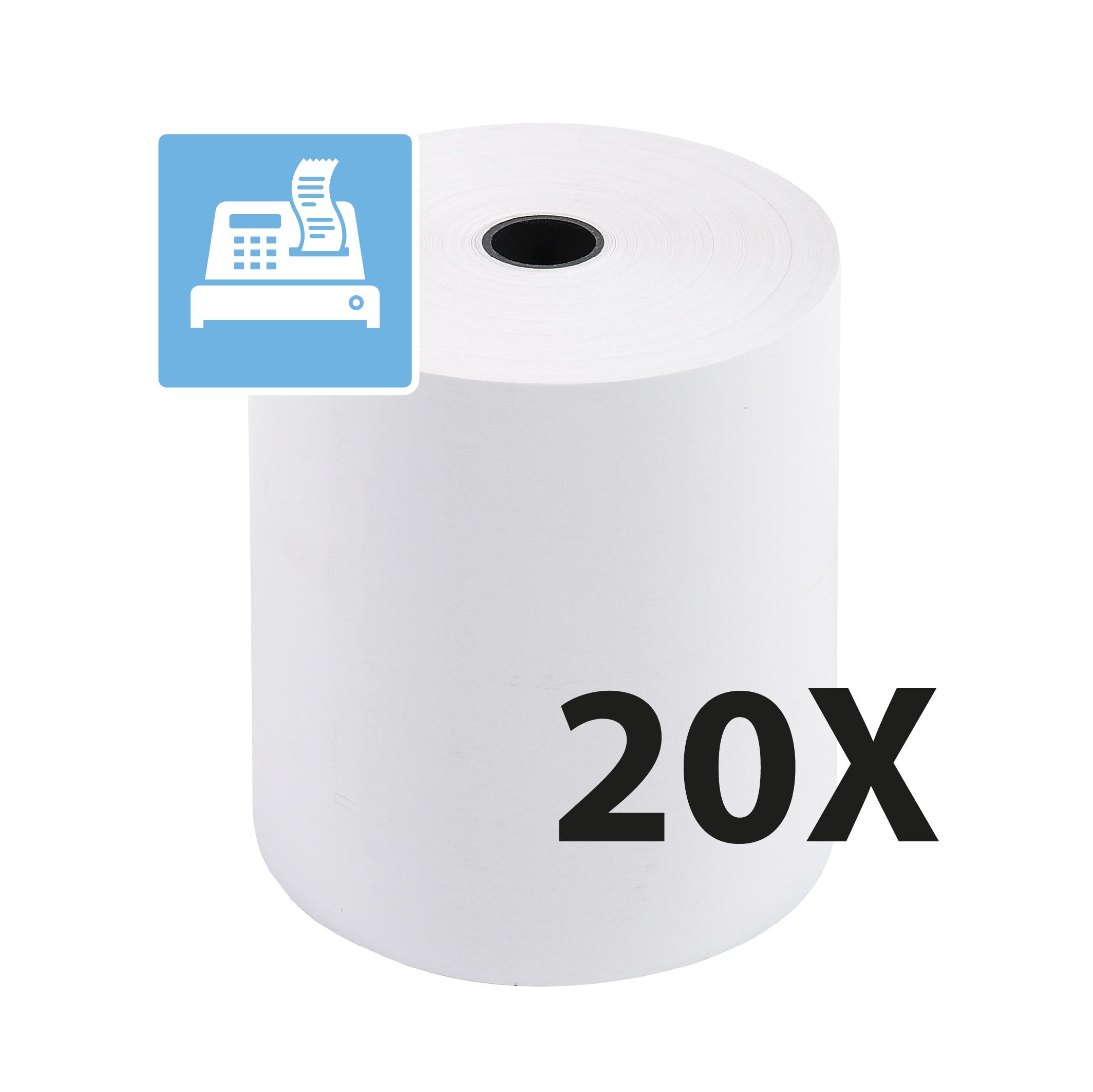 Exacompta - 20 Bobines caisses - papier thermique 80 x 80 x 12 mm - sans Bisphénol A - 72 m