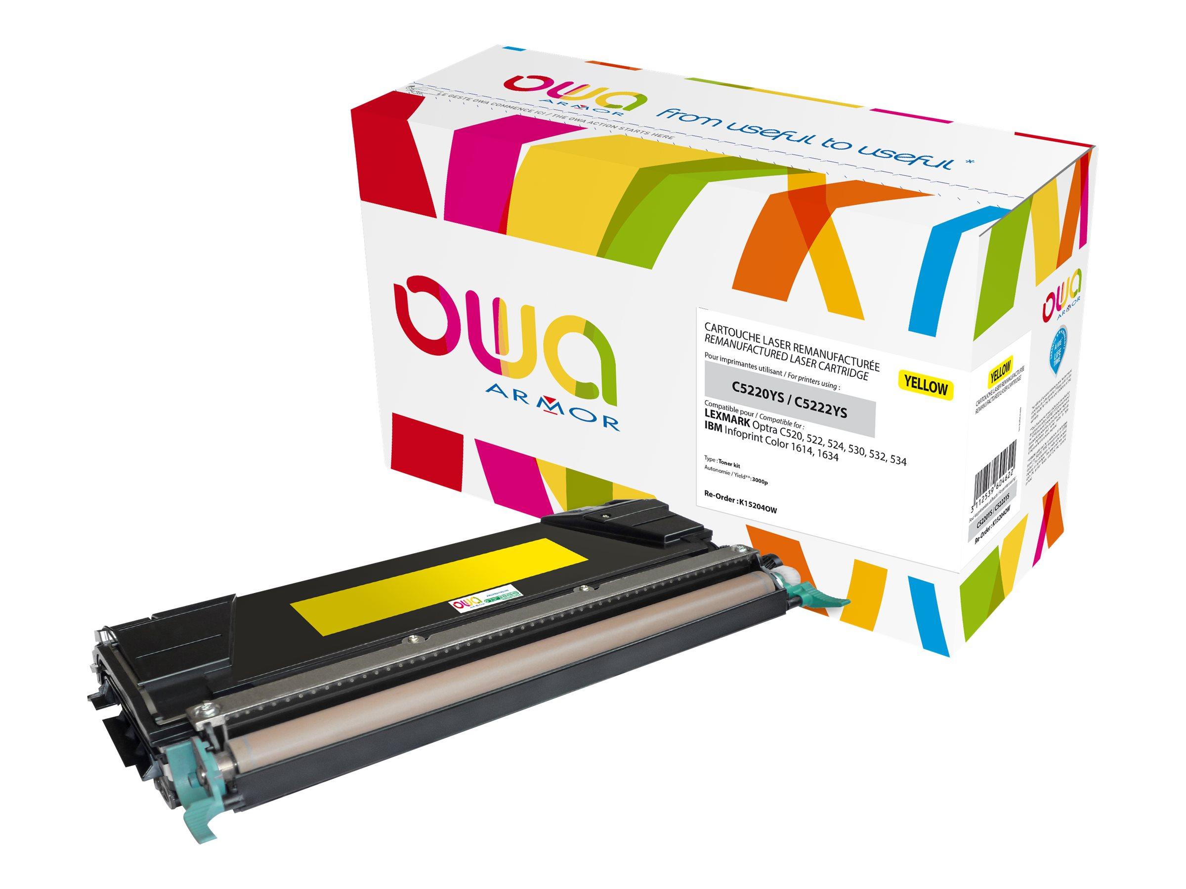 Lexmark C5220YS/C5222YS - remanufacturé OWA K15204OW - jaune - cartouche laser