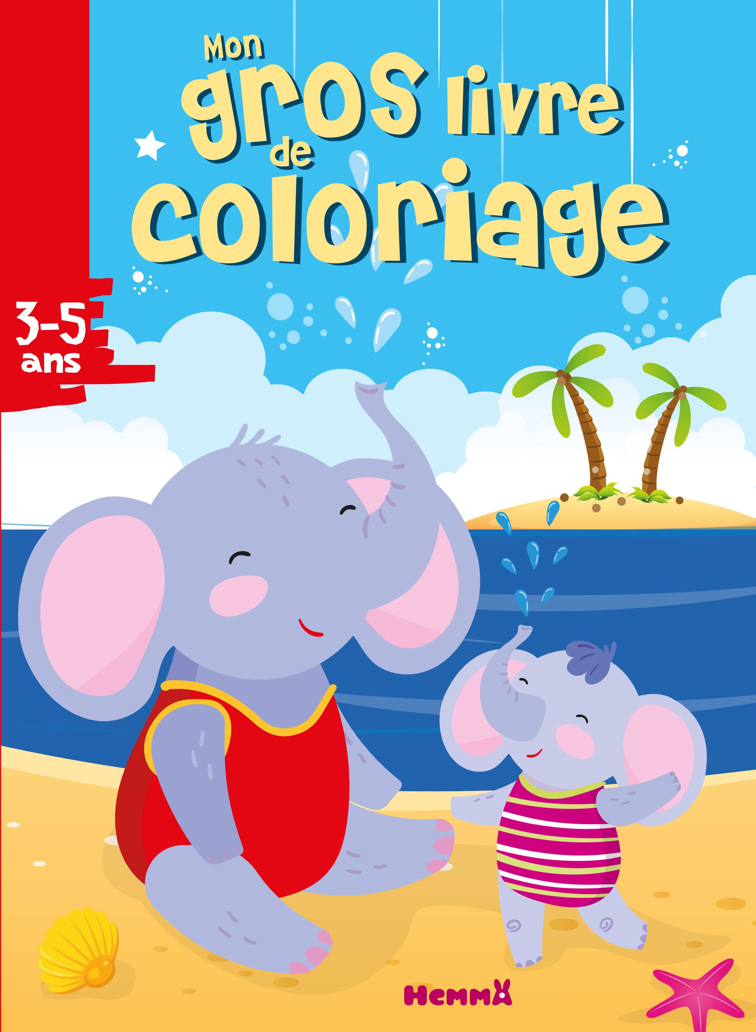 Mon gros livre de coloriage - Eléphants à la plage