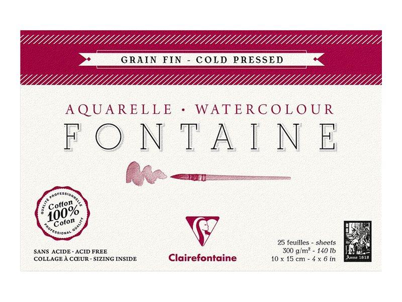 Clairefontaine Fontaine - Bloc de papier aquarelle grain fin - 10 x 15 cm - 25 feuilles - 300 g/m²