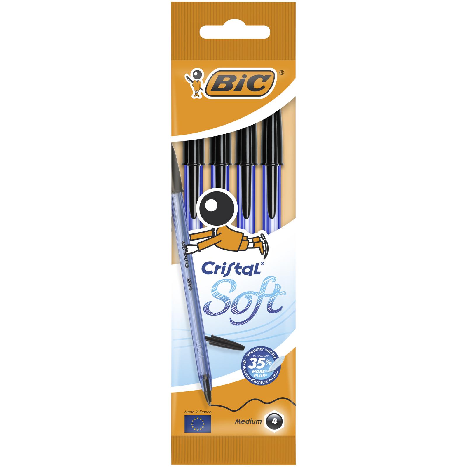 BIC Cristal SOFT - 4 Stylos à bille - noir - 1.2 mm