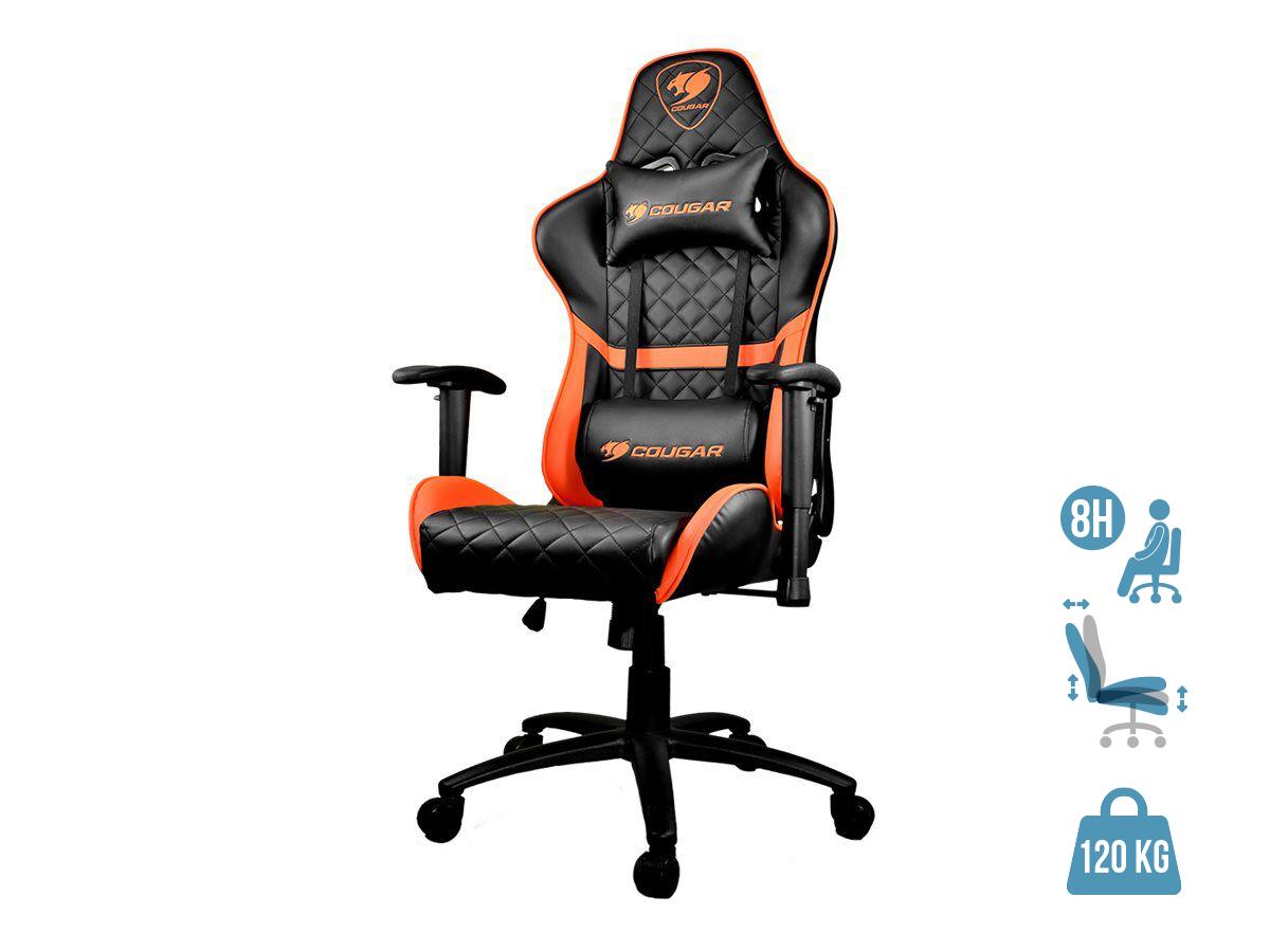 Fauteuil gamer Armor One - accoudoirs réglables - Noir et orange